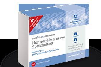 Hormonprofil Mann plus (Testosteron, DHEA, Östradiol, Progesteron, Cortisol)